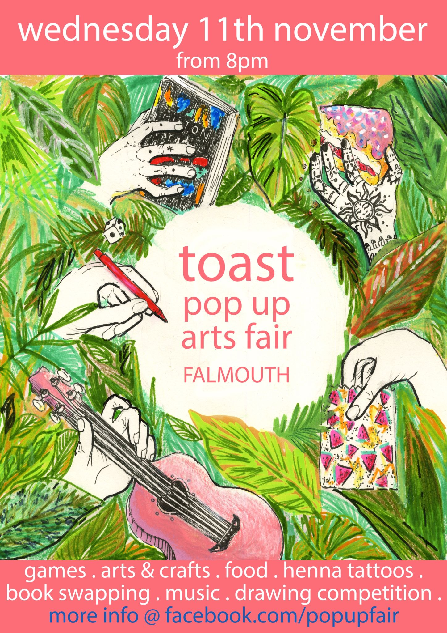 Poster for Toast's pop up arts fair in promarker, neocolor pastel and fineliner pen
