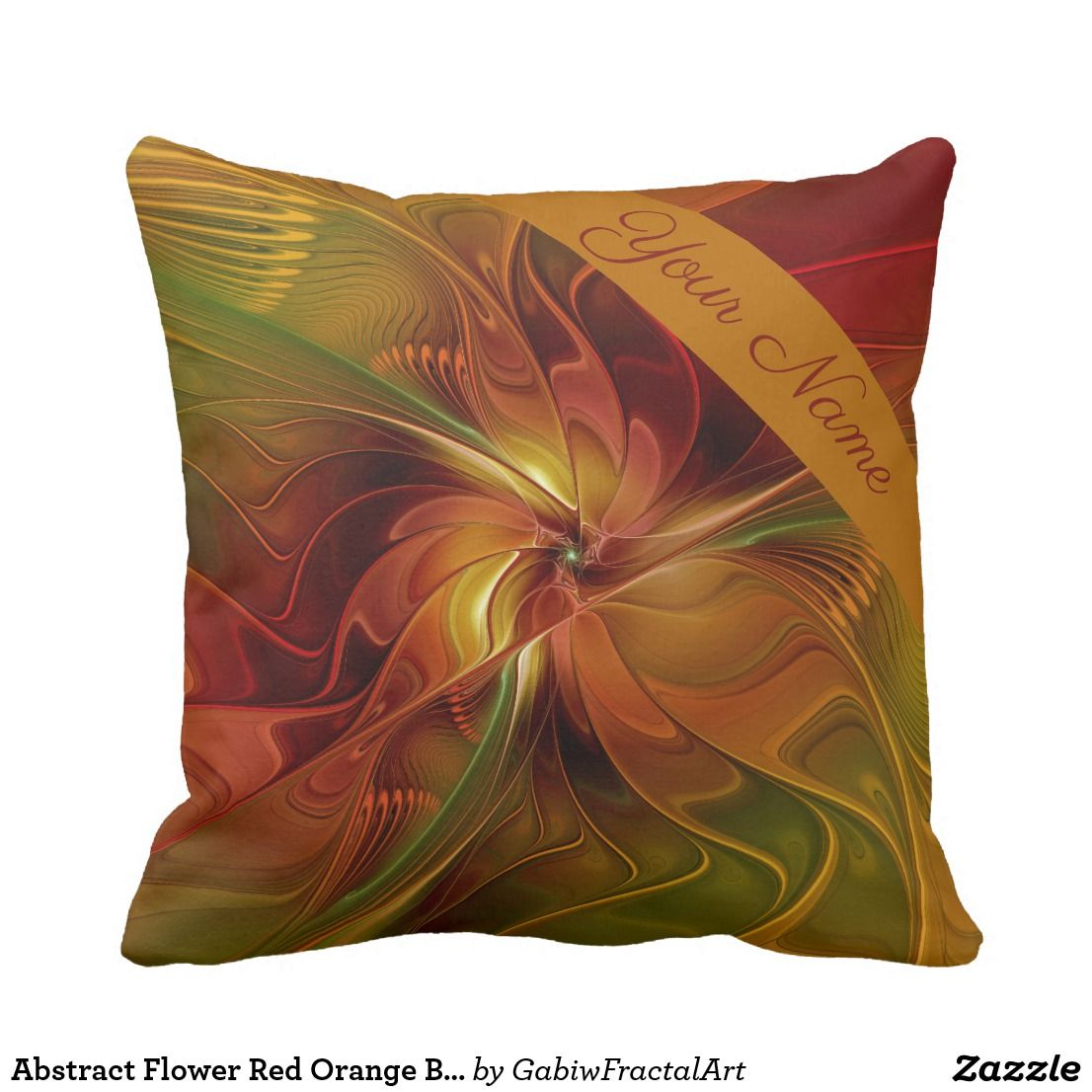 Dekokissen Braun Abstract Flower Red Orange Brown Green Name Personalized Throw