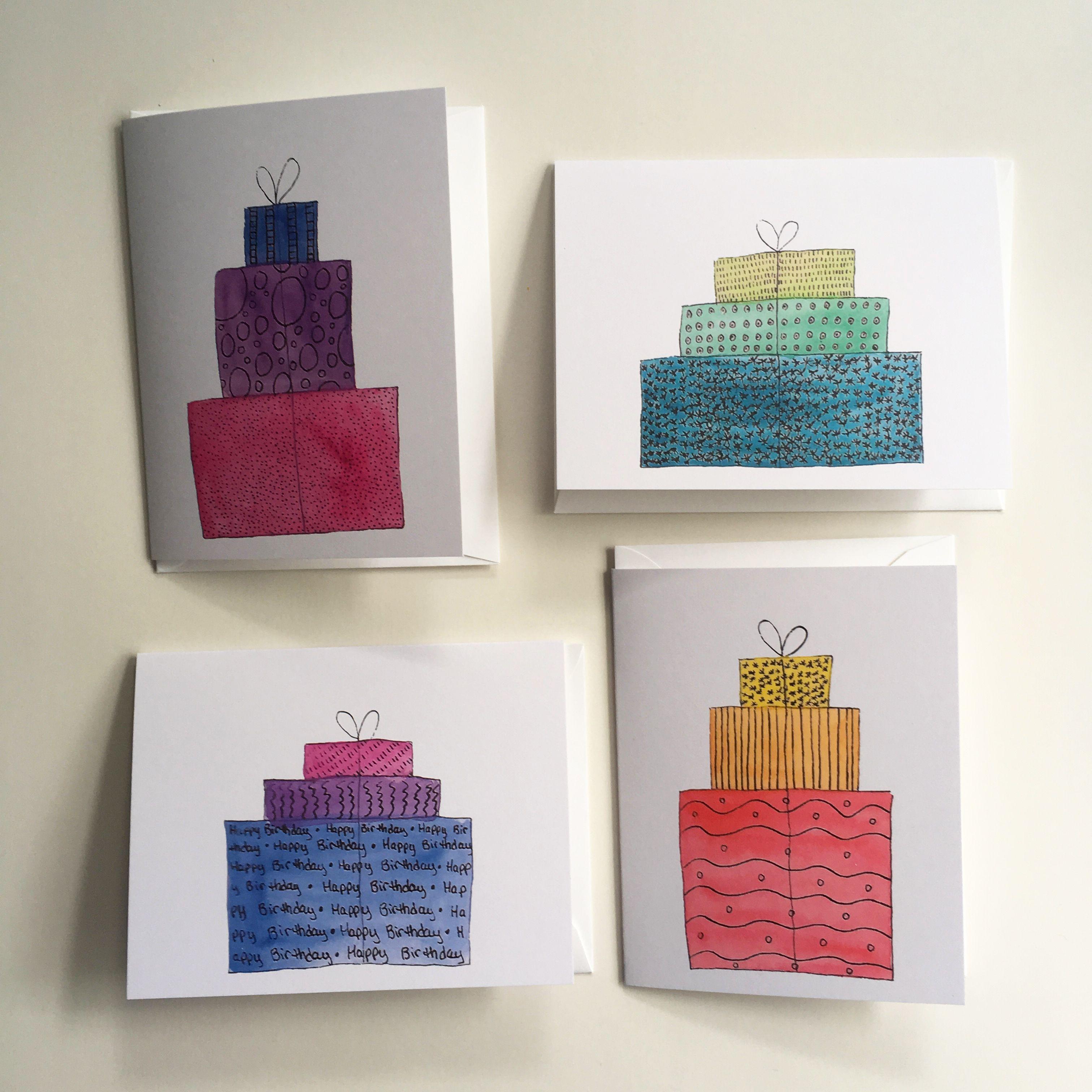 Birthday Presents Happy Birthday Cards Variety Pack Folded Etsy Folded Note Card Happy Birthday Cards Send Christmas Cards