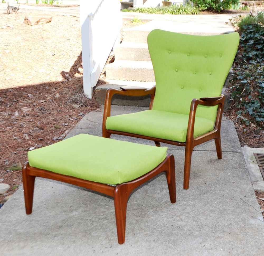Adrian pearsall sculptural wing lounge chair ottoman mid