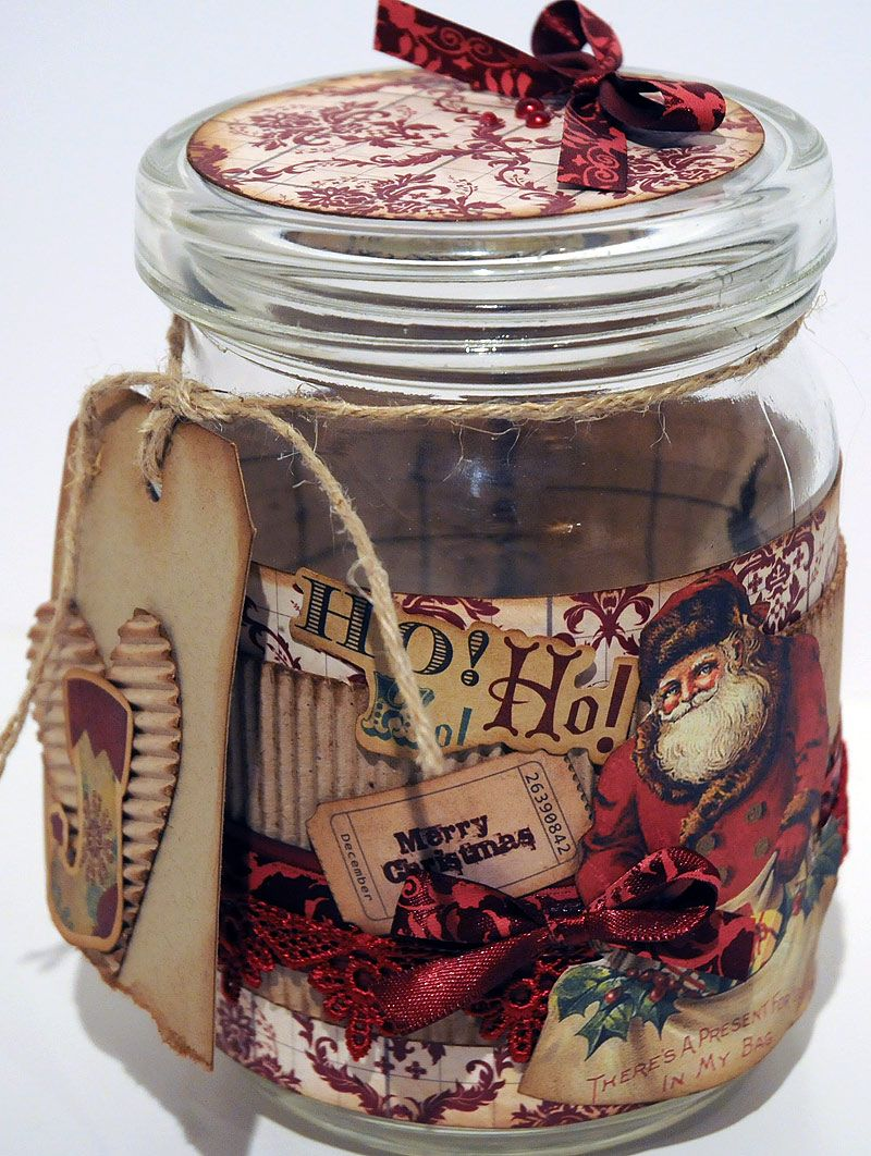 DIY Clever Scrapbooking Jar...Use scrapping papers & embellishments to decorate a plain jar that you want to give as a gift for the holidays.  Fill with food or small gift items...Scrapbook.com.