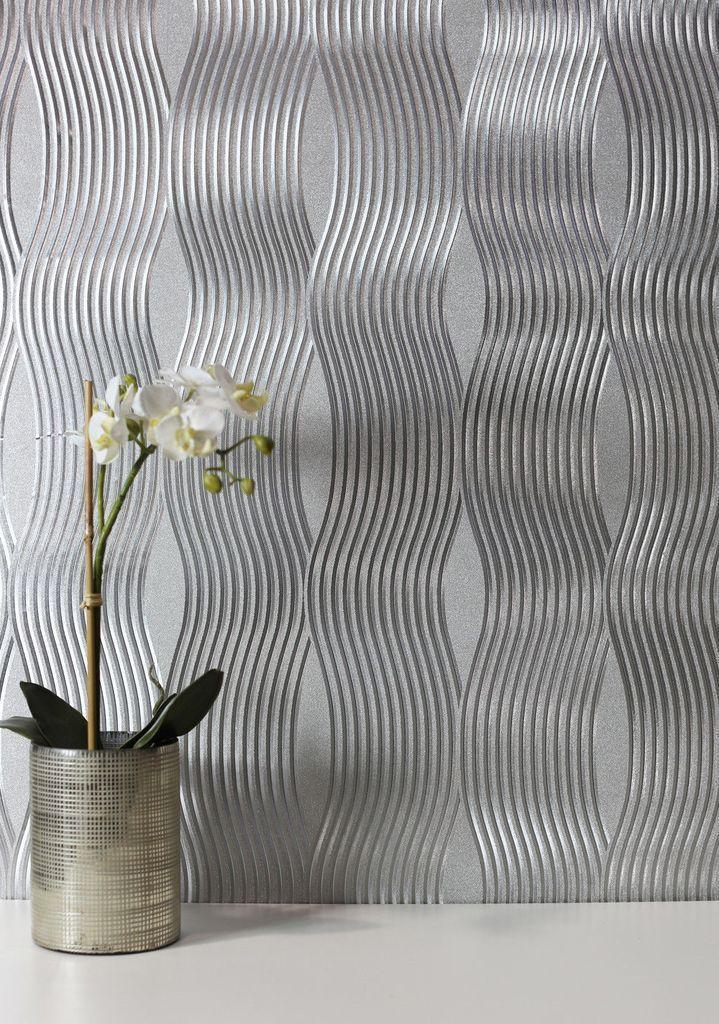 Arthouse Vintage Wallpaper Foil Wave Silver 294501 Silver Wallpaper Silver Wallpaper Metallic Striped Wallpaper