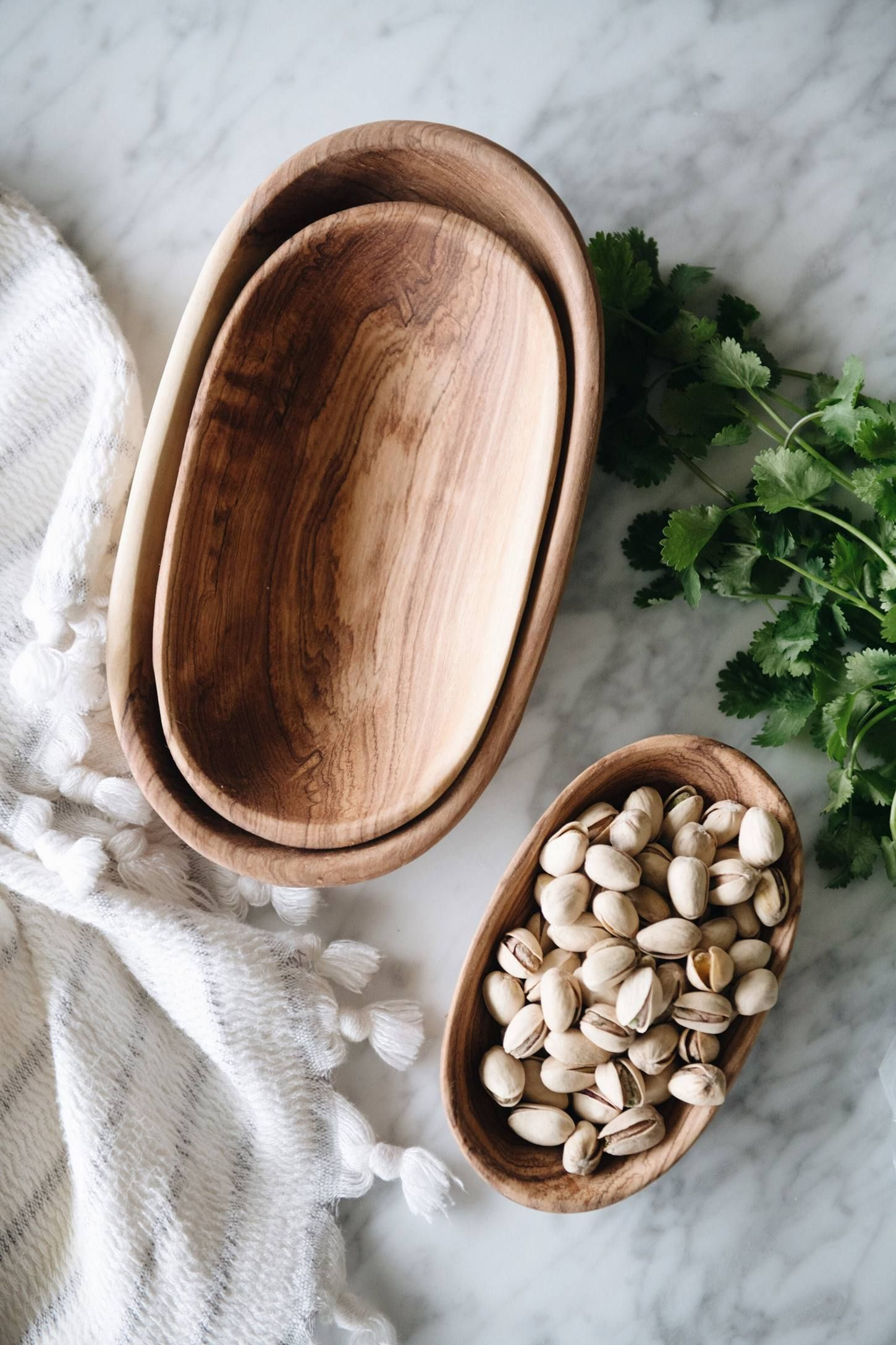Connected Goods Wild Olive Wood Oval Serving Bowl Set #kitchencollection