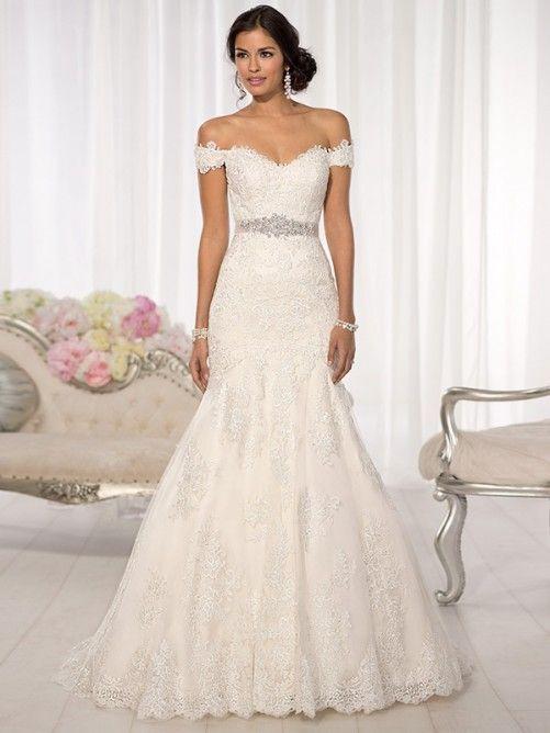 Resultado de imagen para vestido de novia corset con hombros caidos ...