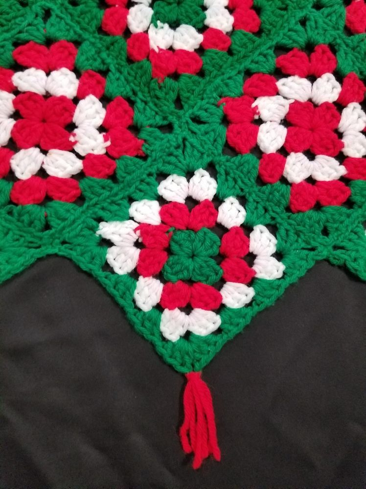 Details About Vtg Crochet Granny Square Christmas Tree Skirt With