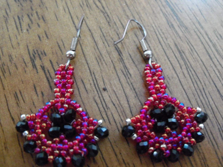 "2"" Stainless steel fan shape glass Czech seed bead and glass rondelle beaded earrings by StrungOnLove on Etsy"