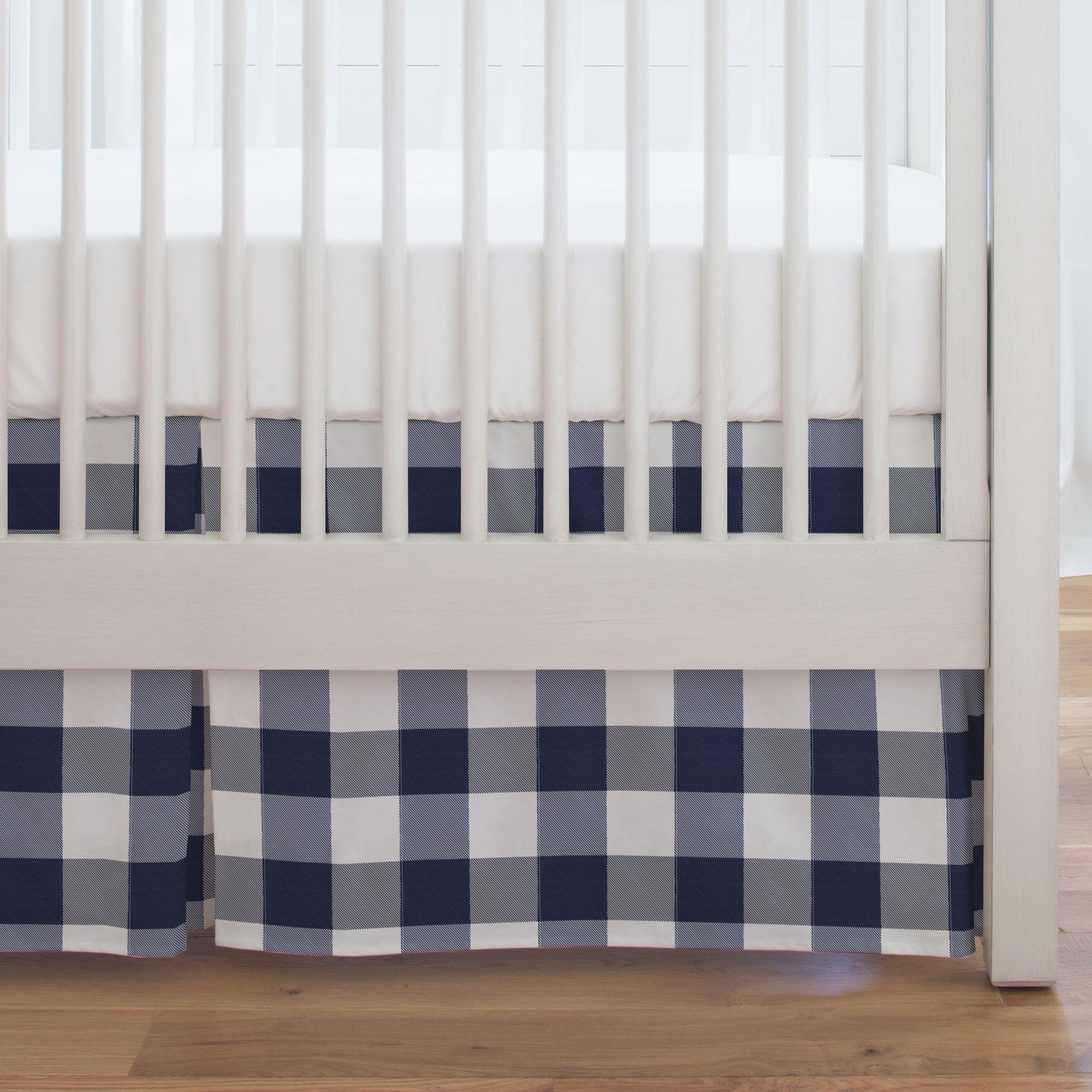 Navy And White Buffalo Check Crib Skirt Single Pleat Cribs White Crib Skirt Crib Skirts