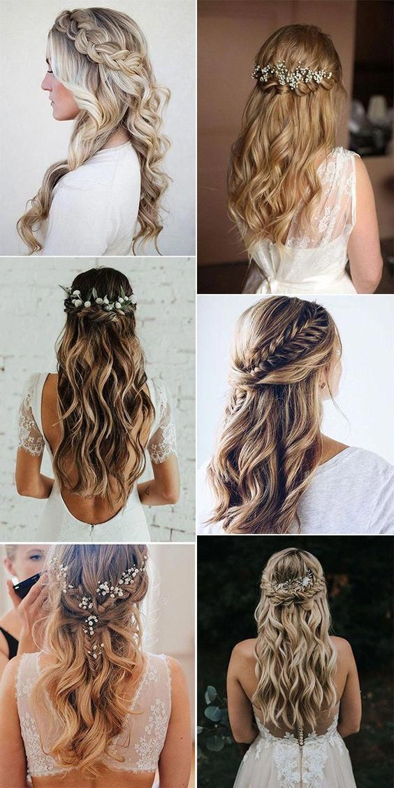 Get inspired by these half up half down wedding hairstyles, pop some greenery and floral crowns to form boho chic, or add some loose braids and silver vine for relaxed country wedding theme. #promhair #loosebraids