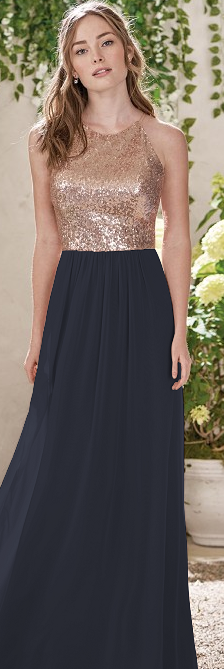 8b22dfe89c9 Navy blue and rose gold bridesmaid dress