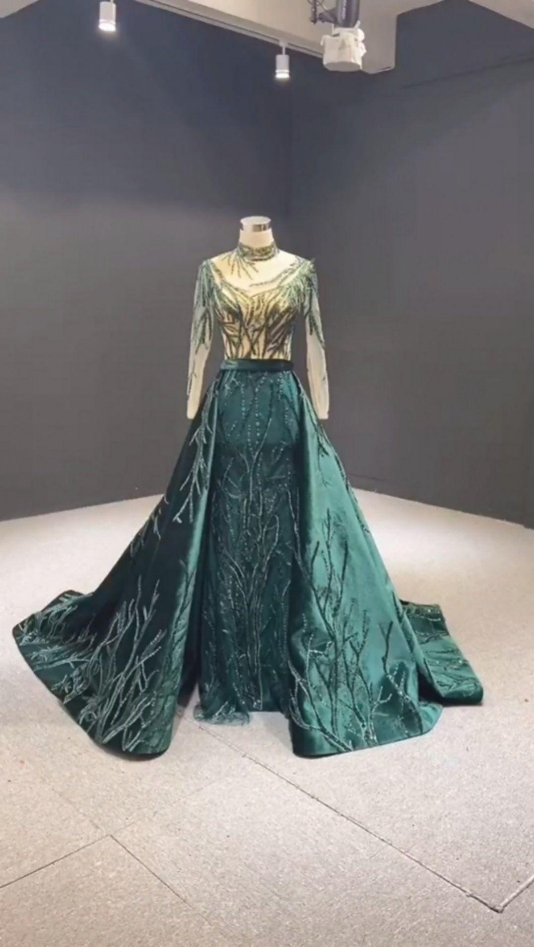 Perlen offenen rücken grün prom kleid mit schleppe ñeradress in