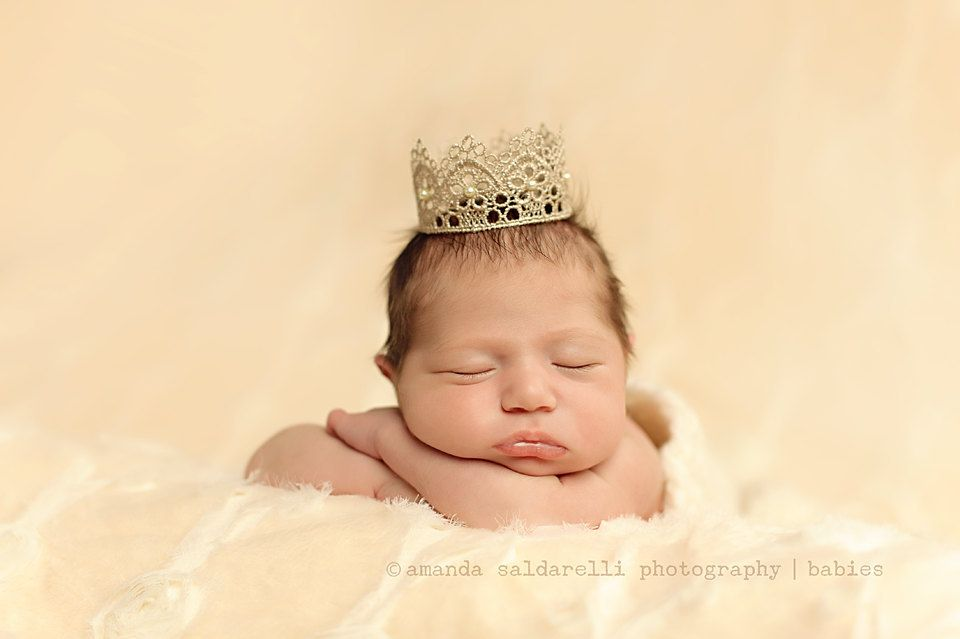 Beaded lace crown baby photo prop baby girl princess crown newborn tiara beaded lace halo newborn size antique gold or silver 17 00 via etsy