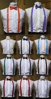 Men/'s Clip-on Suspenders X Back and Bow Tie Retro Steampunk Costume Tux Prom USA