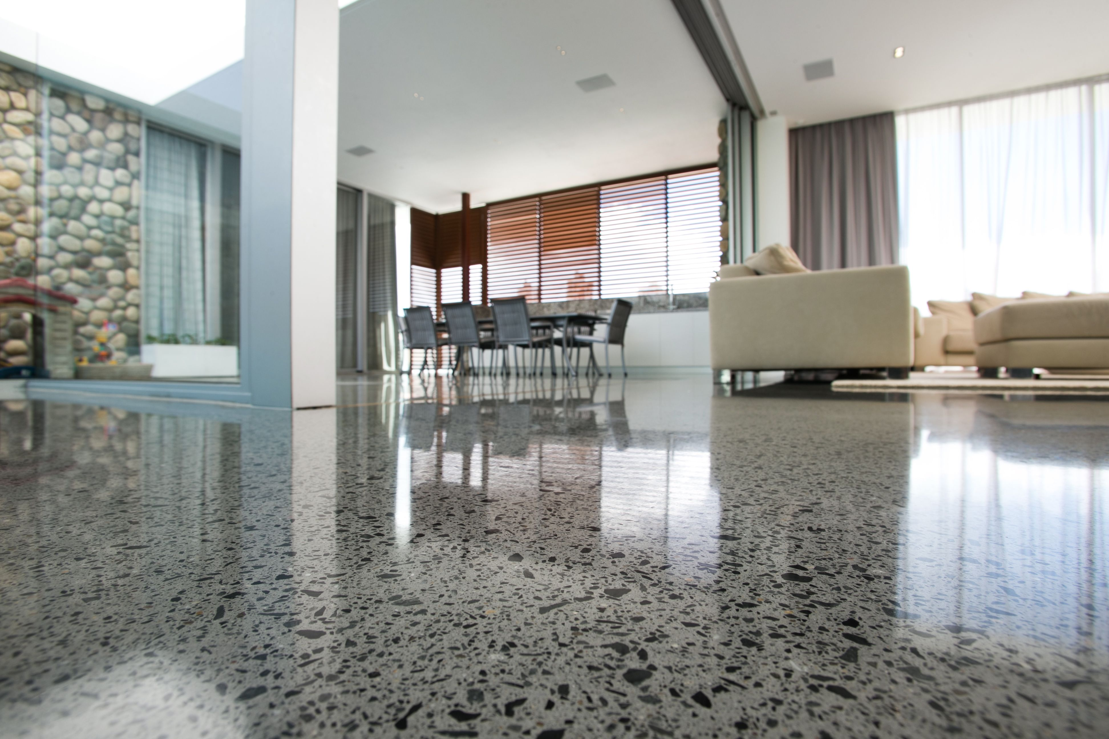 Exotic Polished Concrete Floors For Your Interior Decor Ideas Extraordinary Design With Sofa And White Wall Contemporary