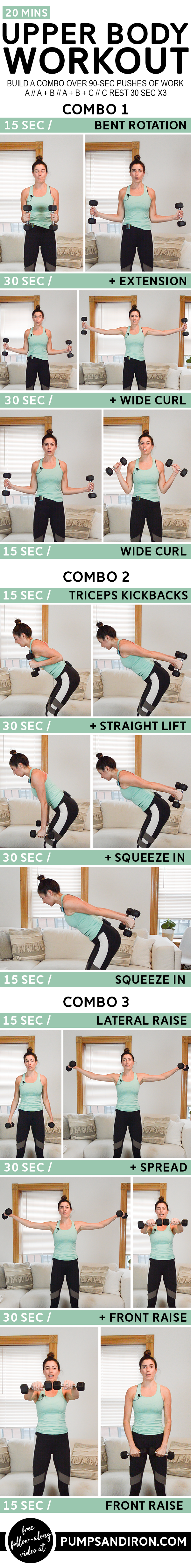 Build-a-Combo Upper Body Workout - Grab a set of dumbbells for this 20-minute upper body workout. It...
