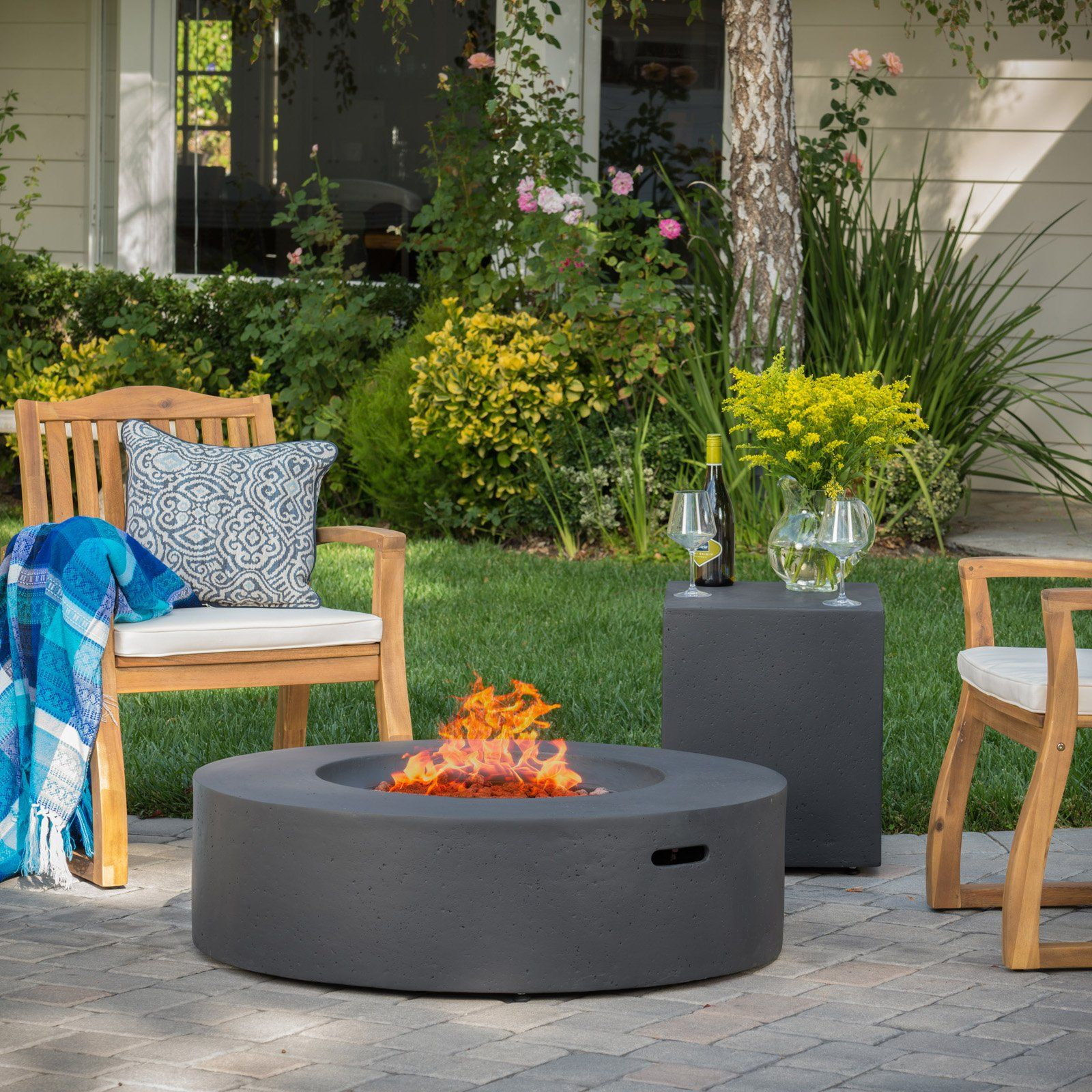 best selling home salta circular outdoor gas fire pit table with