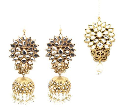 77b65703f Gold Silver Kaachi Kundan Indian Tikka Jhumki Earring Set Indian Jewelry  Jewellery