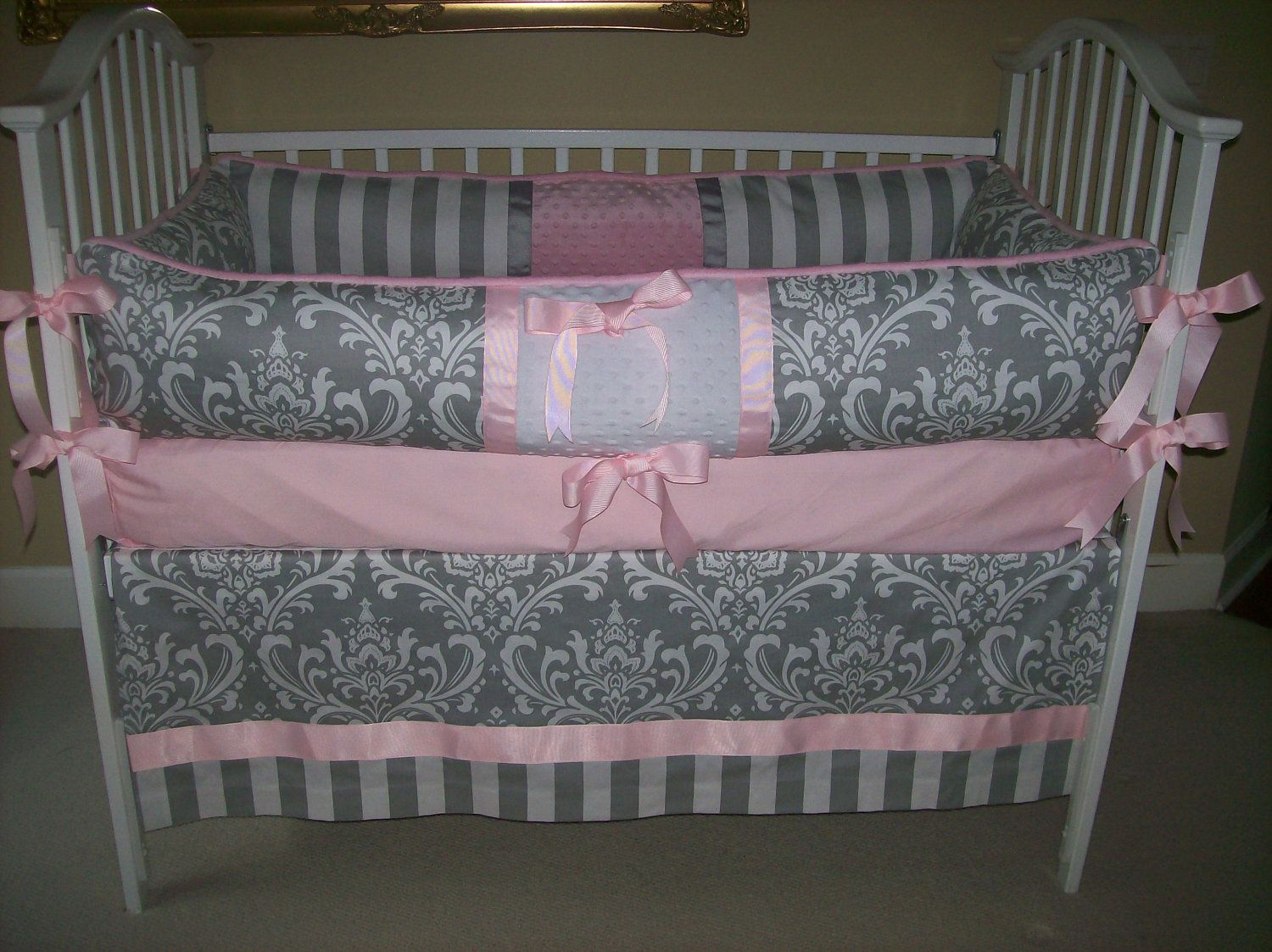 Grey And Pink Baby Bedding Set 209 00 Via Etsy I Really Love This
