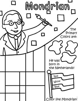 Little Artist Coloring Page- Mondrian | Mondrian, Kindergarten and ...