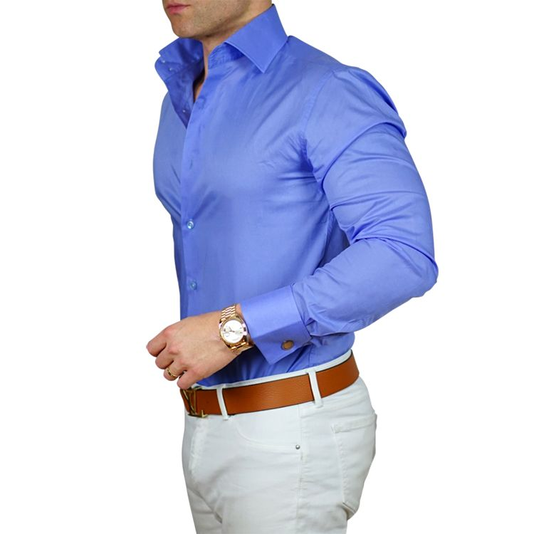 We have expanding our signature high collar double button for Blue dress shirt outfit