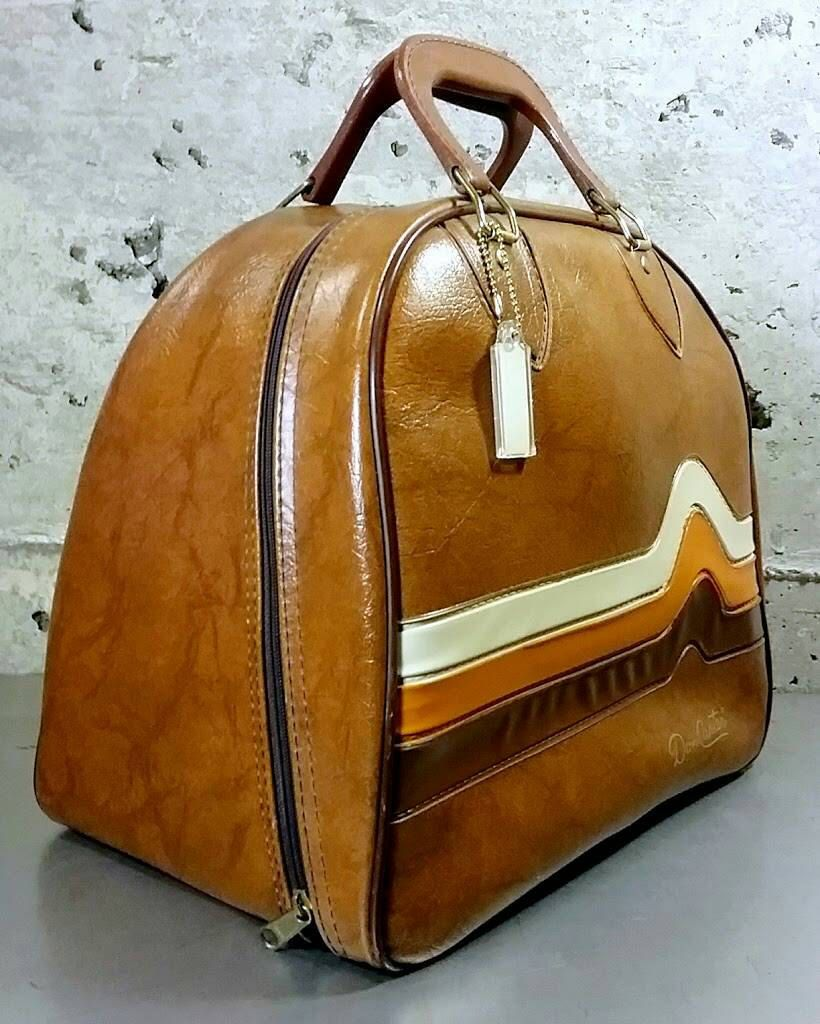 Vintage Like New Brunswick Don Carter Bowling Ball Bag Brown Vinyl Leather W Wave Stripe In Orange Beige And Dark Brown Bowling Ball Bags Leather Metal Ball