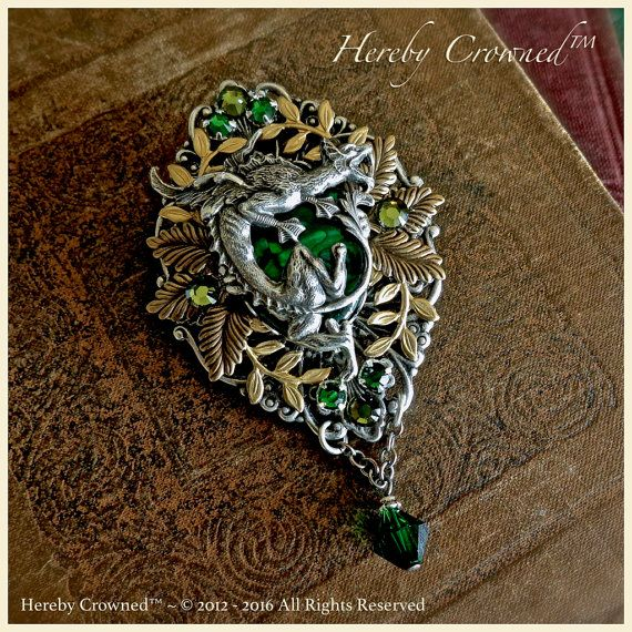 Verde Dragon Brooch ~ Guardian of Renewal ~ Medieval, Dragon Age, Renaissance ~ Mythology, Elven, Forest Queen, OOAK Pin