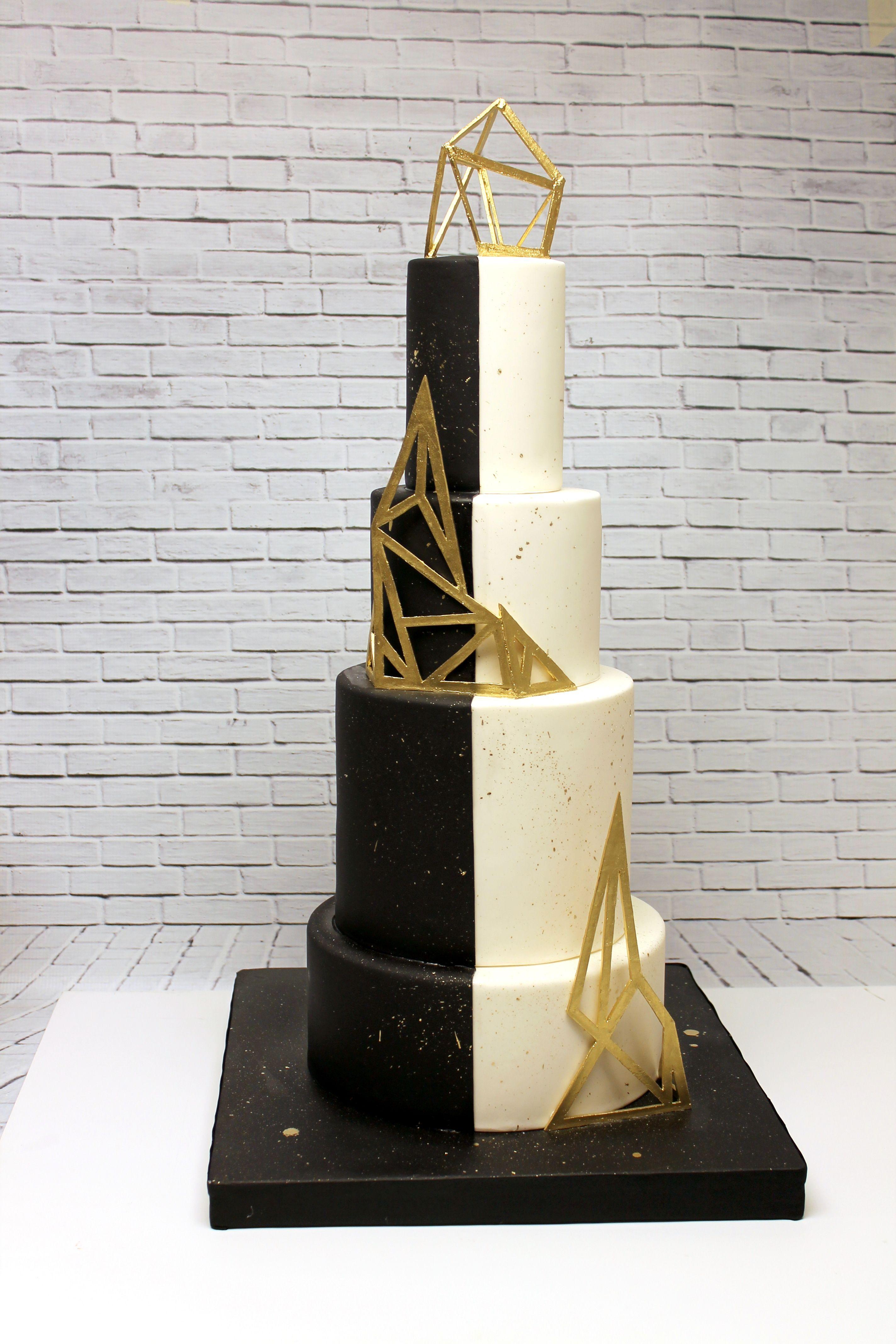 Black, gold, modern wedding cake #modern #abstract #weddingcake ...
