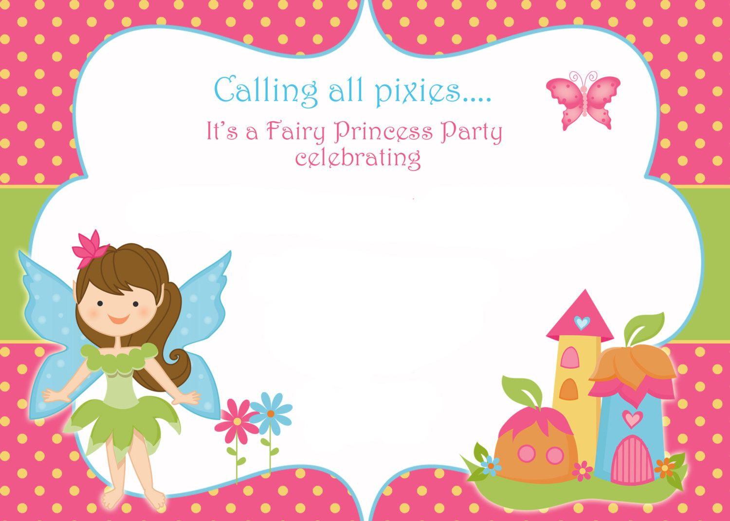 Awesome FREE Printable Fairy Birthday Invitation Template