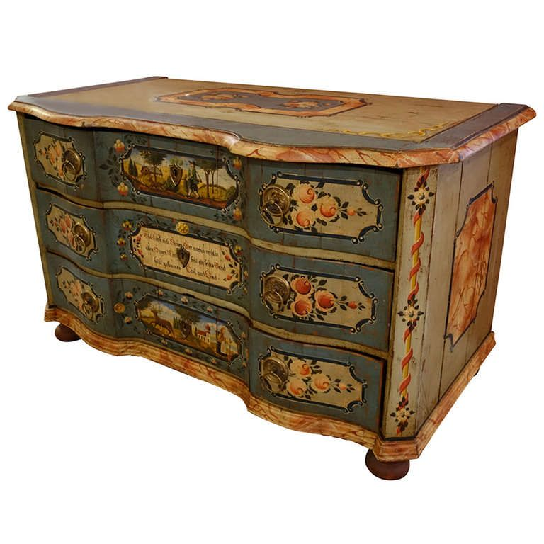 19th Century German Painted Chest of Drawers | 1stdibs.com