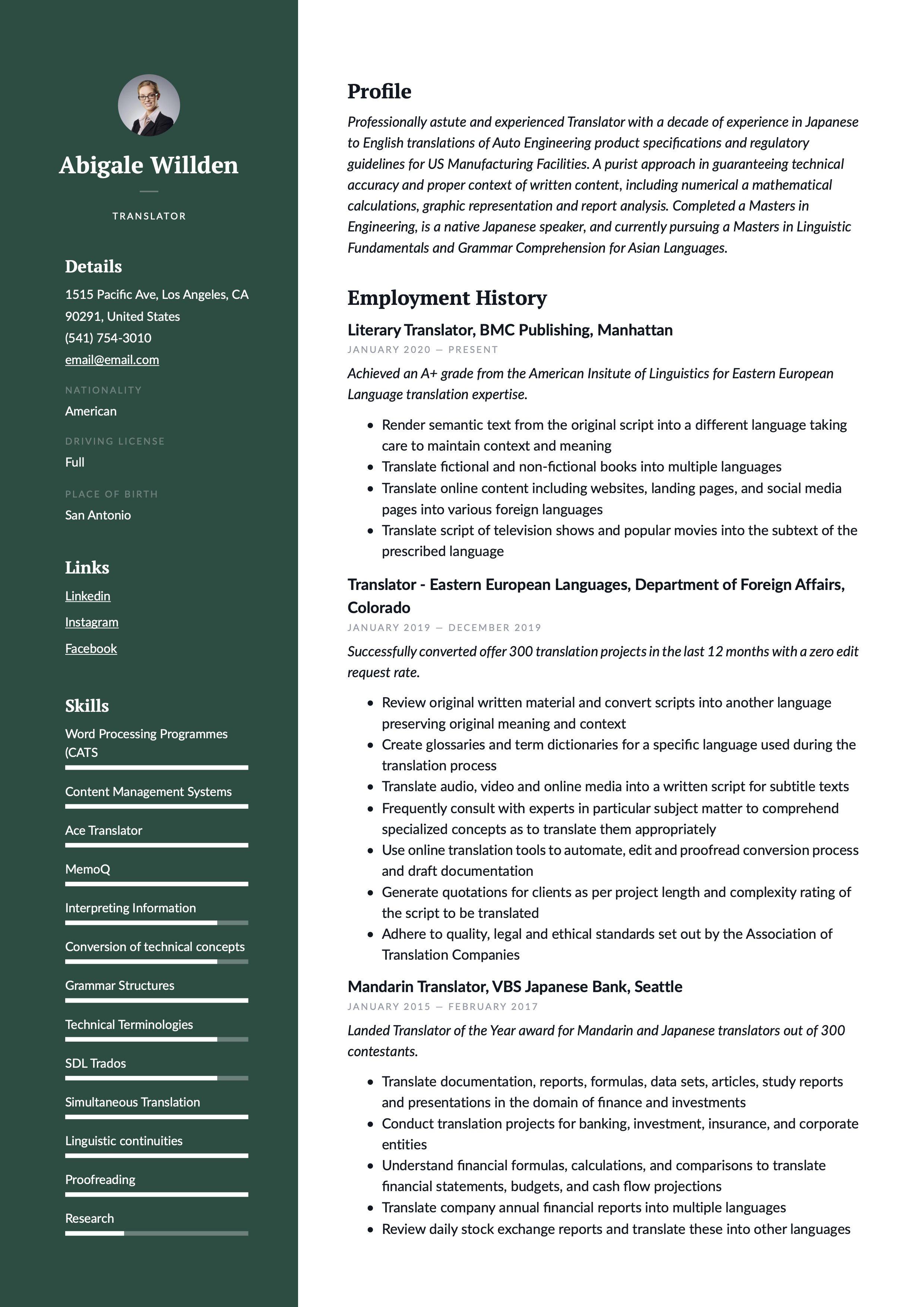 traslator resume example  resume writing resume examples