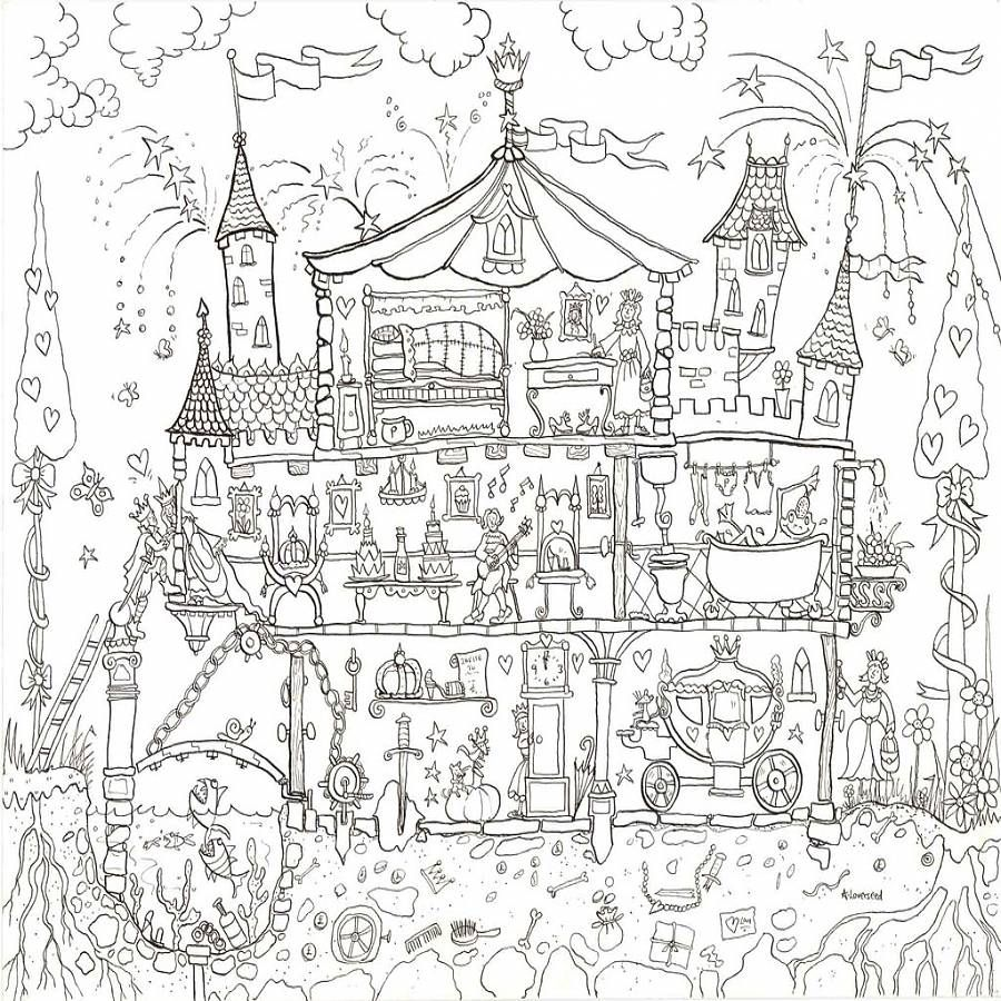 Princess Palace Colouring In Poster | Cardboard tubes, Colour book ...