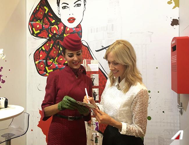 Megan Hess realized the original illustrations of our area at the Unicredit Pavillon. #Alitalia #fashionweek #EtihadPartners