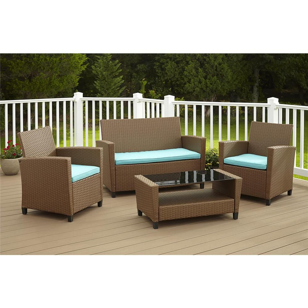 Cosco Malmo 4-Piece Black Resin Wicker Patio Conversation Set with Gray Cushions 88520BGYE - The Home Depot