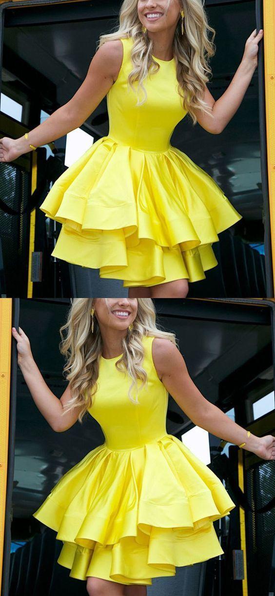 Yellow Homecoming Dresses,Short Prom Dresses,Short