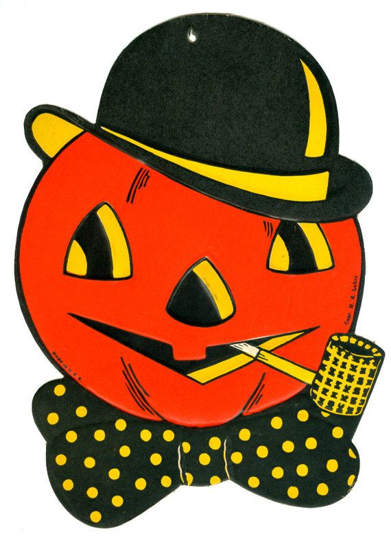 vintage halloween pumpkin head diecut decoration - Halloween Vintage Decorations