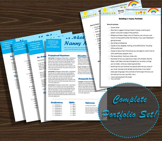 Bright Blue Interview Portfolio Set  Professional Nanny Portfolio