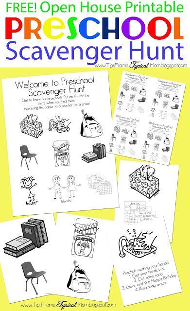 Preschool Open House FREE Printable Scavenger Hunt | Preescolar y ...