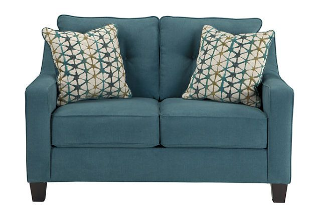 Teal Shayla Loveseat View 2 Love Seat Chaise Sofa