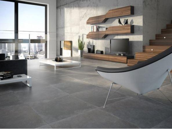 Des dalles XXL façon béton ciré du plus bel effet Carrelage - dalle beton interieur maison