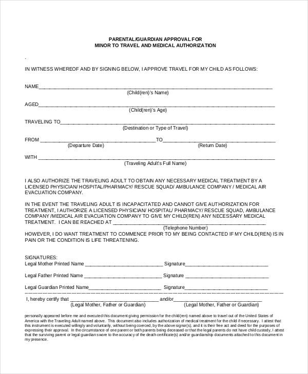 sample travel consent forms free documents pdf doc letter form - sample medical release form
