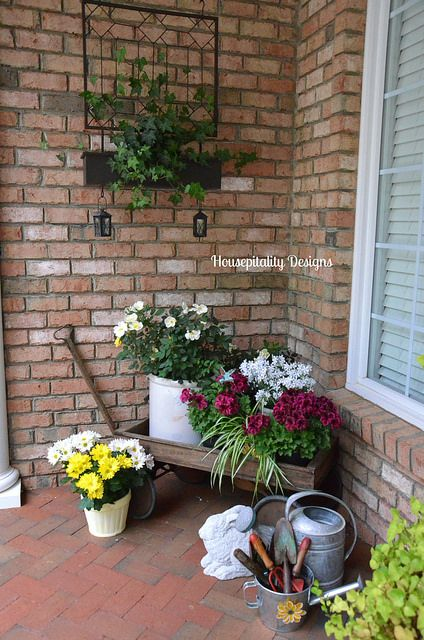 beautiful spring front porch