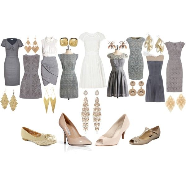 All The Bridesmaid Wear Different Dresses Of Grey With