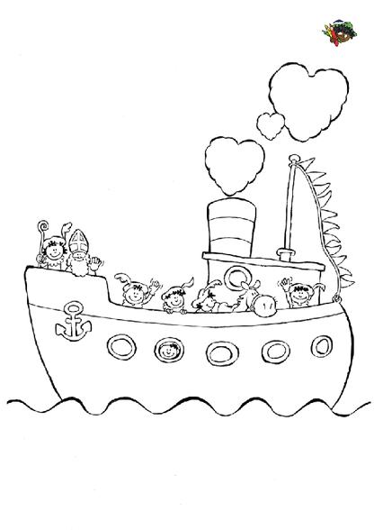 kleurplaat pakjesboot sinterklaas knutselen sinterklaas