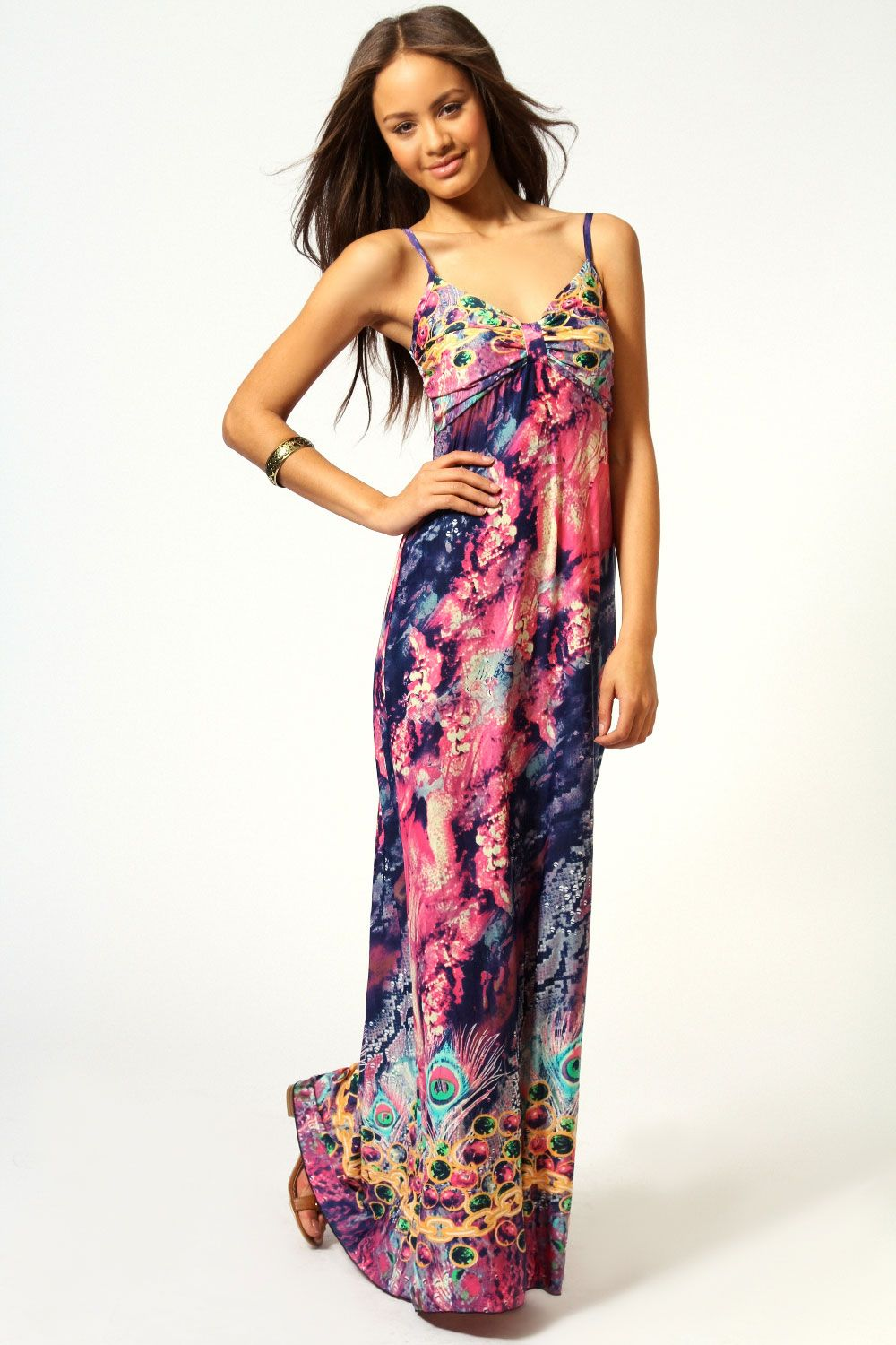 019c7ec92cfa Lindsey Peacock Print Bow Detail Maxi Dress at boohoo.com | Will You ...