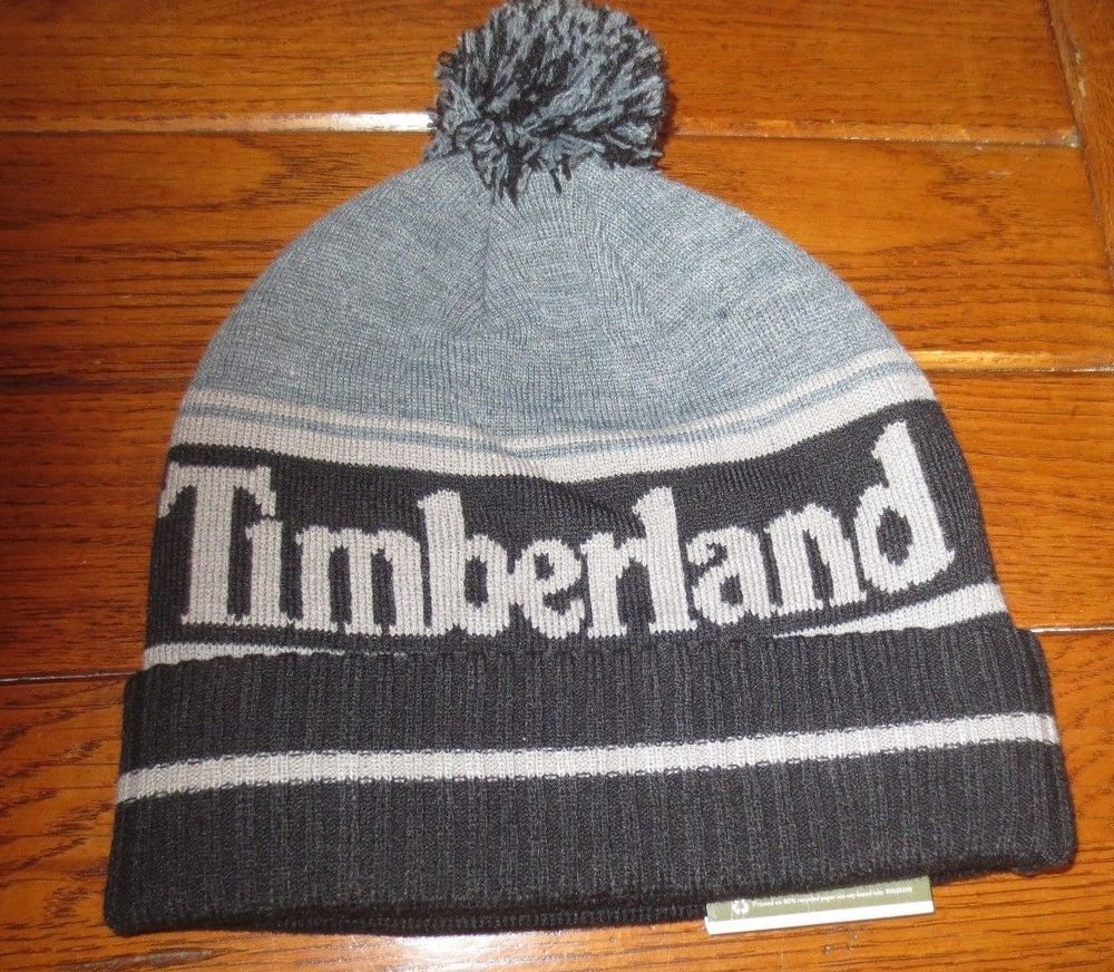 TIMBERLAND BEANIE KNIT HAT MEN S SKULL CAP BLACK GRAY LOGO CUFFED POM NEW   Timberland  Beanie 450b394f9e1f