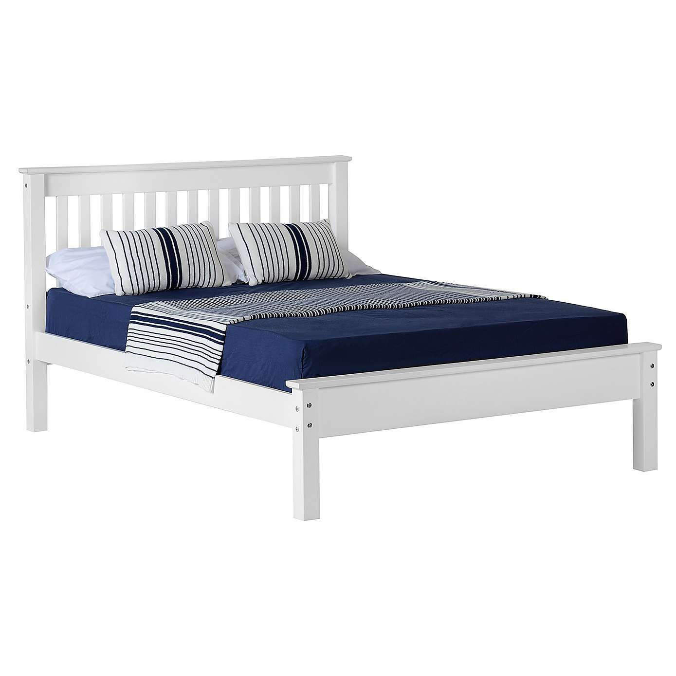 Monaco White Low Foot End Bedstead Bed Frame Wooden Bed Frames
