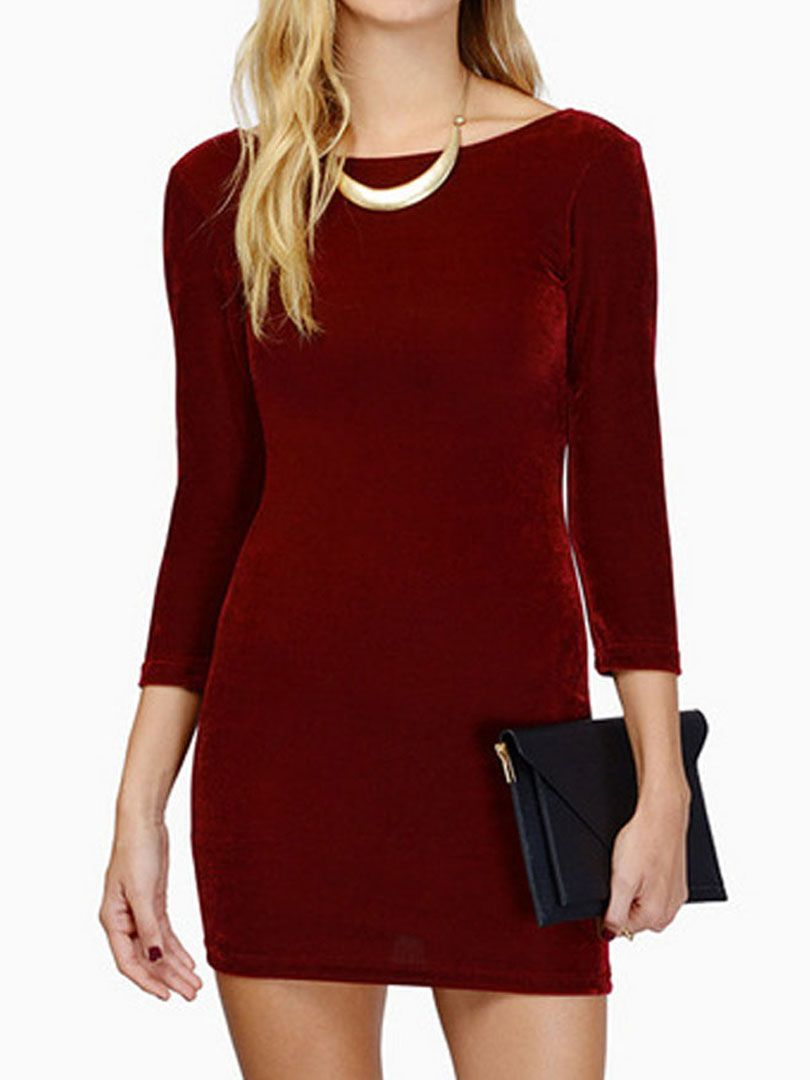 Wine red long sleeve backless velvet bodycon dress to look fine af