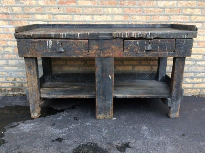 Antique French Blue Painted Industrial Primitive Workbench Console Table
