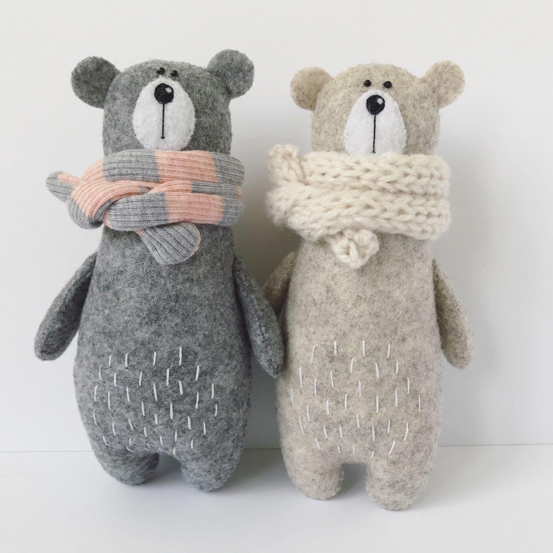 Felt Bear In Knitted Scarf, Stuffed Bear, Gift for Her, Felted Miniature Animals, Felt Animals, Teddy Bear Toy, Woodland Plushie #miniaturetoys