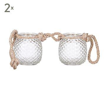 Set de 2 portavelas de vidrio y cuerda Fa