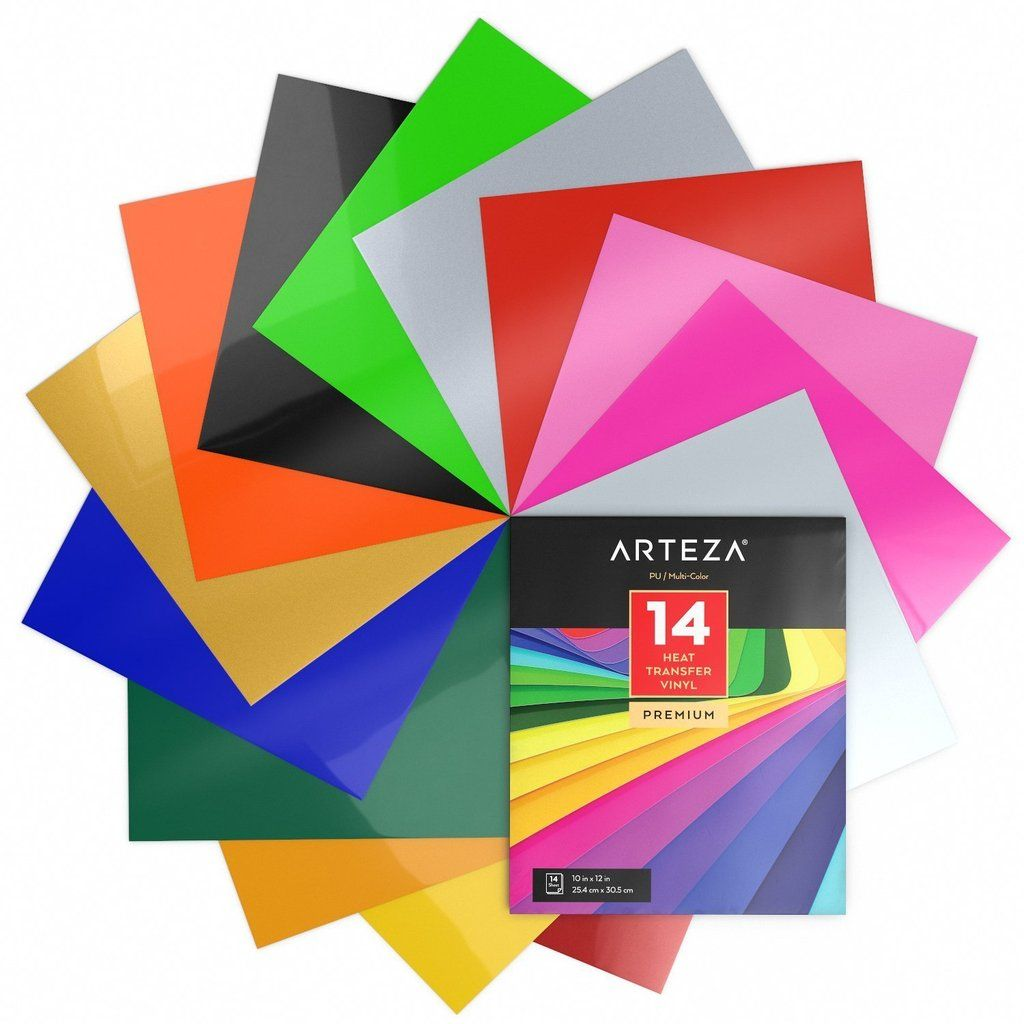 Set Of 14 Premium Multi Color 10 X 12 Heat Transfer Vinyl Sheets Htv Weeds Easily And Can Be Used With Glitter Heat Transfer Vinyl Heat Transfer Vinyl Arteza